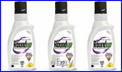 Lot Of 3 Roundup 1L Weed Dandelion Killer Control Super Concentrate Herbicide