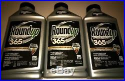 (Lot of 3) RoundUp Max Control 365 Concentrate 32oz Weed Killer + Weed Preventer