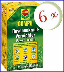 Sparset 6 x COMPO Rasenunkraut-Vernichter Banvel Quattro, 150 ml