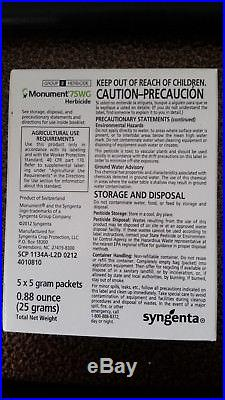 Syngenta Monument 75WG Herbicide 25g box (5 x 5 gram Packets) turf weed control